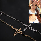 1 Pcs Fashion Chain Necklace Heartbeat Feeling ECG Chain Gold Silver Hot OZ