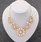 Charm Pearl Pendant Chain Choker Chunky Statement Bib Necklace Jewelry Collar