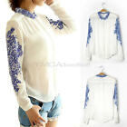 Fashion Women's Lady Porcelain Chiffon Long Sleeve Casual Tops Blouse T Shirt