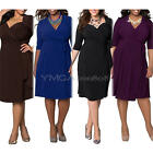 Women's Solid Color 3/4 Sleeve Vintage Dress Long Pleated Dresses Plus Size