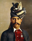 """HUBERT VOS """"Portrait of a Khattack in Military Head-Dress"""" moustache NEW CANVAS"""