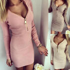 New Women Long Sleeve V-neck Sexy Stretch Bodycon Casual Clothing Cotton Dresses