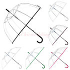 Transparent Clear Bubble Rain Umbrella Parasol with Color Trim Photo Decoration