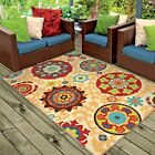 RUGS AREA RUGS OUTDOOR RUGS INDOOR OUTDOOR RUGS 8x10 CARPET FLORAL PATIO RUGS ~~