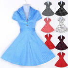 BLUE RED+Vintage 50s 60s Swing Retro Pinup Rockabilly Party Prom Dresses PLUS