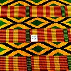African Kente Print Wax Dyed Veritable Cloth, Cotton, Red, Gold, Green, Black
