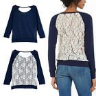 Sexy Womens Casual Long sleeve Back Lace Stitching  Fashion Top Shirt Blouse RD