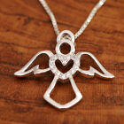 925 Sterling Silver Guardian Angel Embraces CZ Heart Pendant Necklace w Gift Box