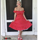 50s Style Red & White POLKA Dot PLUS SIZE Peasant Top On/Off The Shoulder Dress