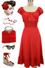 50s Style SOLID RED Rockabilly PINUP Bombshell Peasant On/Off T/Shoulder Dress