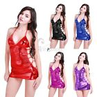 Sexy Women Lady Faux Leather Wet Look PVC Minni Dress + G-string Bodysuit Dress