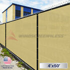4'x50' FT Privacy Screen Mesh Fence Shade Cover Canopy Windscreen With Zip Ties