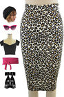 50s Style BROWN LEOPARD Print TightFit PINUP High Waist WIGGLE Pencil Skirt