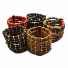 Random Wooden Beads Multilayer Wood Beaded Elastic Bracelet New For Women Men