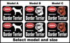 2 Warning protected by Border Terrier guard dog breed decals sticker stickers
