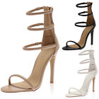 LADIES ANKLE STRAPPY WOMENS HIGH STILETTO HEELED SUMMER SANDALS SHOES SIZE 3-8