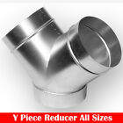 "Metal Y Piece Ventilation Ducting Connector Reducer 4"" 5"" 6"" 8"" 10"" 12"""