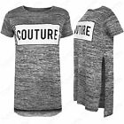 NEW WOMENS SIDE SLIT SPLITS COUTURE PRINT T-SHIRT LADIES MARL KNIT LOOK HILO TOP