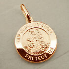 9ct Rose Gold Plated 15mm Guardian Angel Medal Chain & Engraving Options