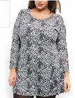 SAMYA Long Sleeve A-Line GREY PAISLEY Soft Stretch Dress Tunic 16 - 24 PLUS SIZE