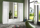 EVA White High Gloss German Made Wardrobe in 2 3 and 4 Doors with Mirror Doors