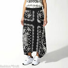 Adidas Originals Women Paisley Print Black & White Maxi Skirt M L UK 16 18 New