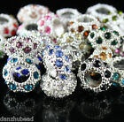 SILVER BIG HOLE EUROPEAN CZECH CRYSTAL CHARMS LOOSE BEADS FIT BRACELET JEWELRY