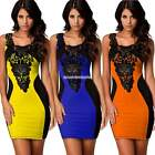 Sexy Ladies  Floral Lace Contrast Blubwear Evening Party Bodycon Mini Dresses