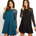 New Crew Neck Long Sleeve Floral Lace Patchwork Keyhole Women's Shift Mini Dress