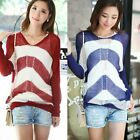 New Hollow Out Batwing Sleeve Womens Striped Knit Top Thin Sweater Knitwear 6821