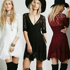 3 Colours Sexy Women V-neck 3/4 Sleeve Lace A-line Mini Dress Sizes S M L XL New