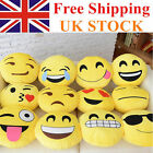 2 X NEW Emoji Cushion Pillow Emotion Yellow Round  Stuffed  Plush Soft Toys  UK