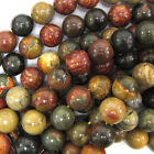 "Multicolor Picasso Jasper Round Beads 15.5"" Strand 4mm 6mm 8mm 10mm 12mm 14mm"