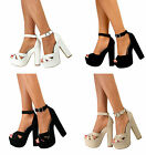 Ladies Ankle Strap Peep Toe Platform Chunky Block High Heel Sandals Shoes Size