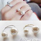 Fashion U Shape Adjustable Double Imitation Pearl Rings Womens Pearls Jewelry