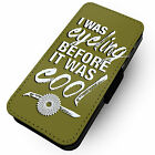 Cycling Cool -Printed Faux Leather Flip Phone Cover Case- Giant Tracks Fixie