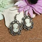 ER2989 Graceful Garden Victorian Style Antique Silver Tone Cameo Charm Earrings