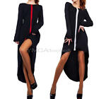 Women's Lady Long Sleeve Crew Neck Irregular Dovetail Asymmetrical Hem Dress