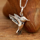 925 Sterling Silver Antiqued Hummingbird Pendant Necklace Handcrafted w Gift Box