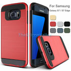 Hybrid Armor Brushed Case Dual Layer Cover for Samsung Galaxy S7 / S7 Edge