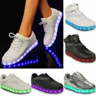 Womens Ladies USB LED Lights Sneakers Shoes Luminous Sportswear Lace Up New Size