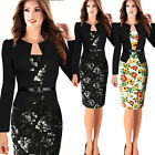 Sexy Women Floral Long Sleeve Bodycon Tunic Cocktail Party OL Midi Pencil Dress