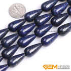 "Blue Lapis Lazuli Gemstone Teardrop Beads For Jewelry Making Strand 15"" Yao-Bye"
