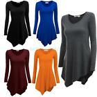 Women's Hem Line Long Sleeve Lightweight Knitting Tunic Tops T-shirts Dress