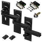 Door Handle Black Cast Iron Avon Lever Lock Latch Bathroom Complete Sets Pair Of