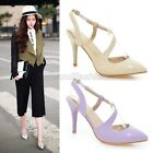 Ladies Chic Pointed Toe High Heel Slingback Sandals Court Shoes Plus Size A473