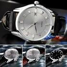 Men's Date Leather Stainless Steel Military Sport Quartz Wrist Watch Black STGG