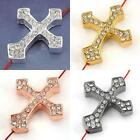 1/10/20pcs Crystal Metal Cross Connectors Charm Spacer Beads Jewelry Findings