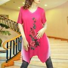 Hot Pink gradient embroidery lined dress tunic top  1989 Size M