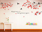 Wall Decor Decal Sticker Removable tree branche birds small 2 colors DC0305